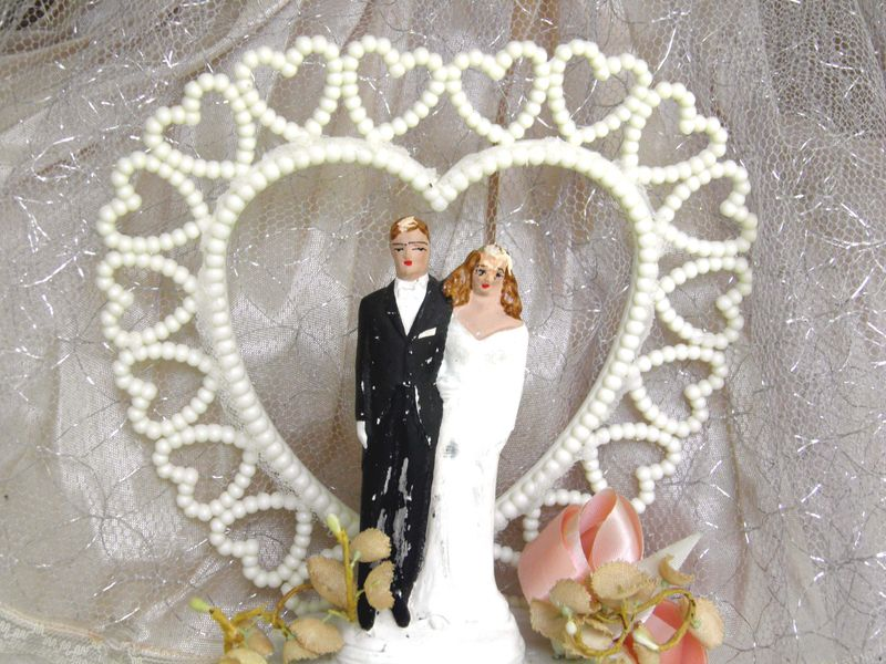 Chalkware Wedding Cake Topper